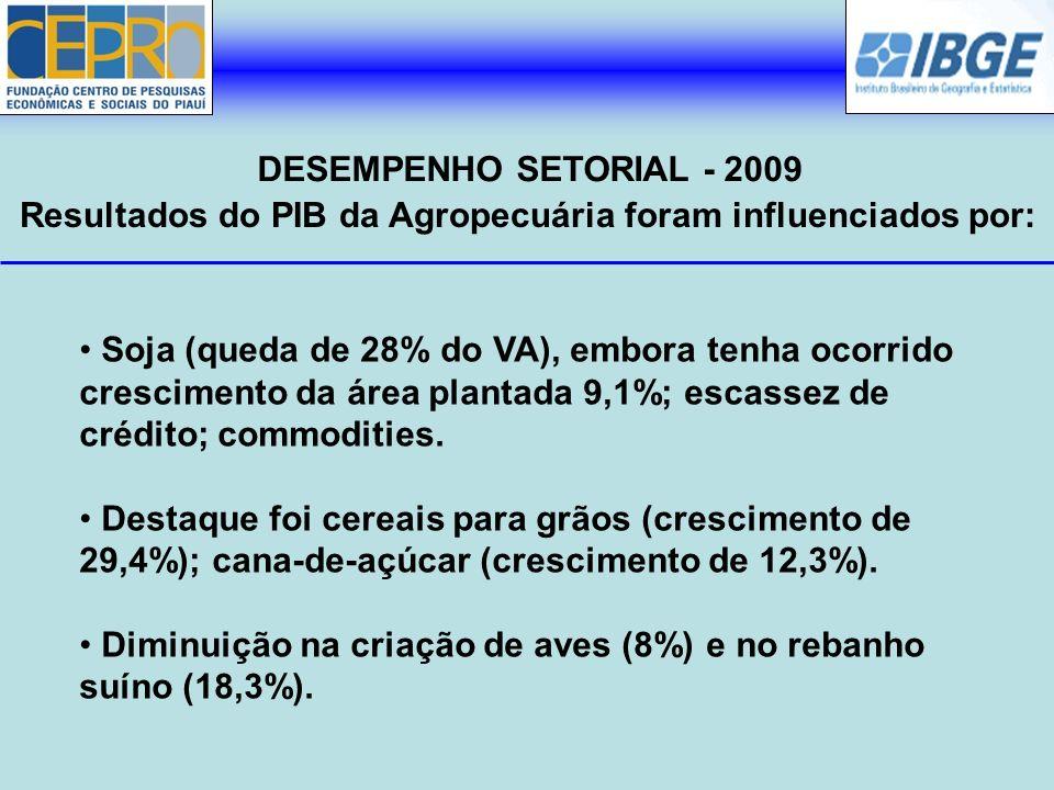 Resultados do PIB da Agropecuária foram influenciados por: DESEMPENHO SETORIAL - 2009 Soja (queda de 28% do VA), embora tenha ocorrido crescimento da