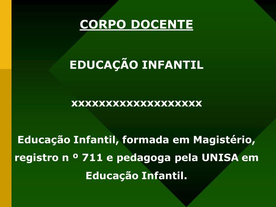 CORPO DOCENTE EDUCAÇÃO INFANTIL xxxxxxxxxxxxxxxxxxx Educação Infantil, formada em Magistério, registro n º 711 e pedagoga pela UNISA em Educação Infantil.