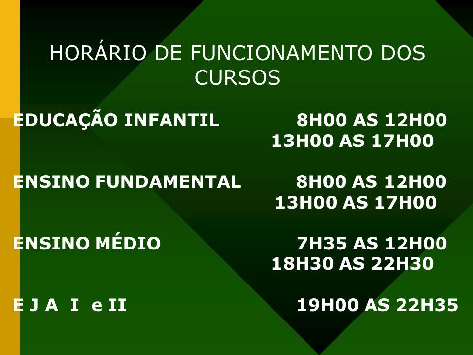 HORÁRIO DE FUNCIONAMENTO DOS CURSOS EDUCAÇÃO INFANTIL8H00 AS 12H00 13H00 AS 17H00 ENSINO FUNDAMENTAL 8H00 AS 12H00 13H00 AS 17H00 ENSINO MÉDIO7H35 AS