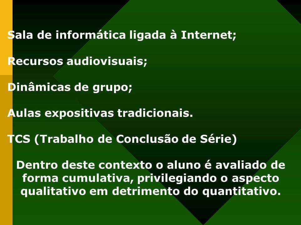 Sala de informática ligada à Internet; Recursos audiovisuais; Dinâmicas de grupo; Aulas expositivas tradicionais. TCS (Trabalho de Conclusão de Série)