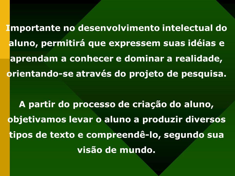 Importante no desenvolvimento intelectual do aluno, permitirá que expressem suas idéias e aprendam a conhecer e dominar a realidade, orientando-se através do projeto de pesquisa.