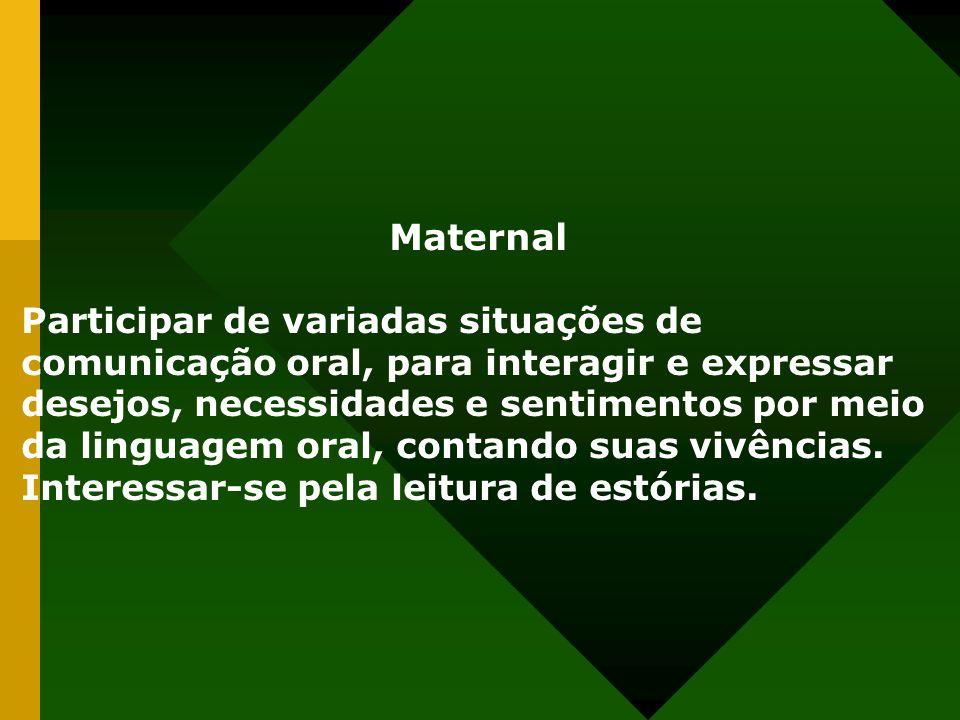 Maternal Participar de variadas situações de comunicação oral, para interagir e expressar desejos, necessidades e sentimentos por meio da linguagem oral, contando suas vivências.