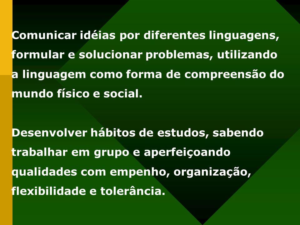 Comunicar idéias por diferentes linguagens, formular e solucionar problemas, utilizando a linguagem como forma de compreensão do mundo físico e social