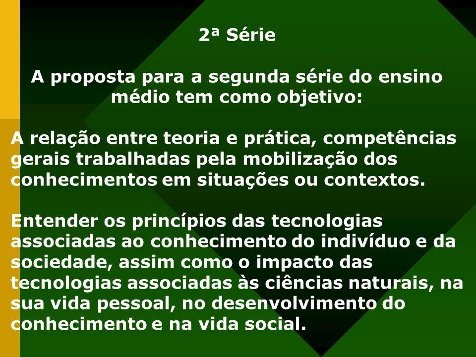 2ª Série A proposta para a segunda série do ensino médio tem como objetivo: A relação entre teoria e prática, competências gerais trabalhadas pela mobilização dos conhecimentos em situações ou contextos.