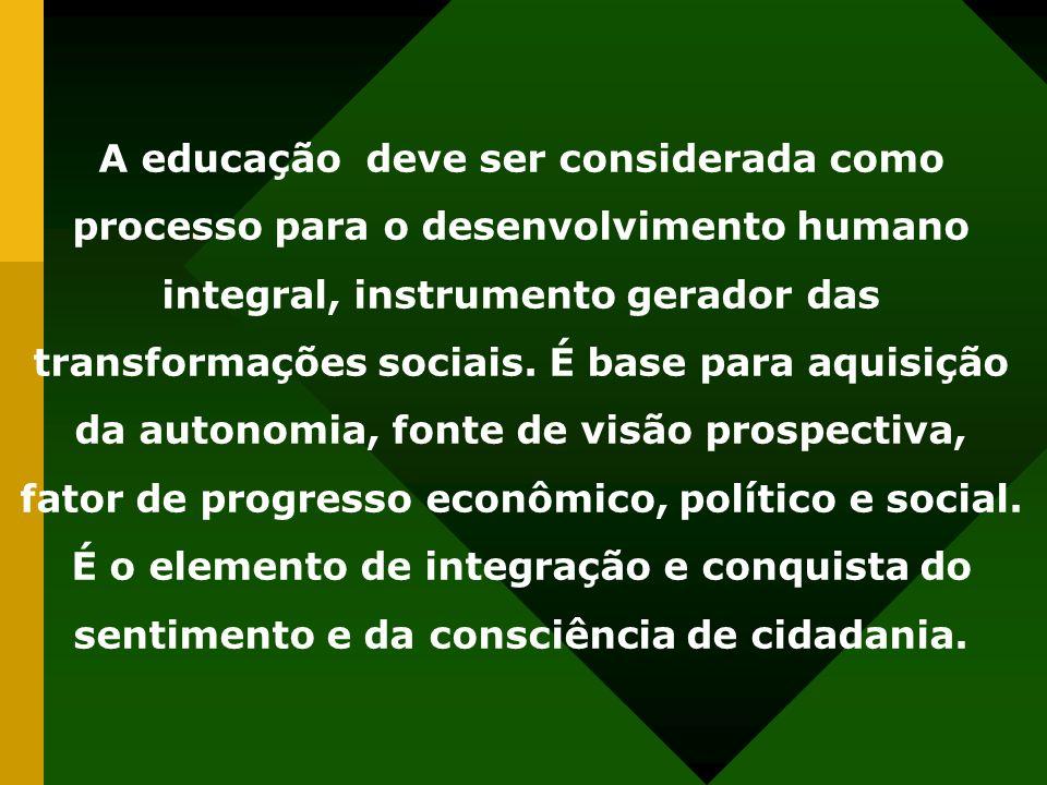 A educação deve ser considerada como processo para o desenvolvimento humano integral, instrumento gerador das transformações sociais. É base para aqui