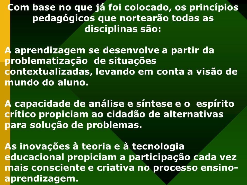 Com base no que já foi colocado, os princípios pedagógicos que nortearão todas as disciplinas são: A aprendizagem se desenvolve a partir da problemati
