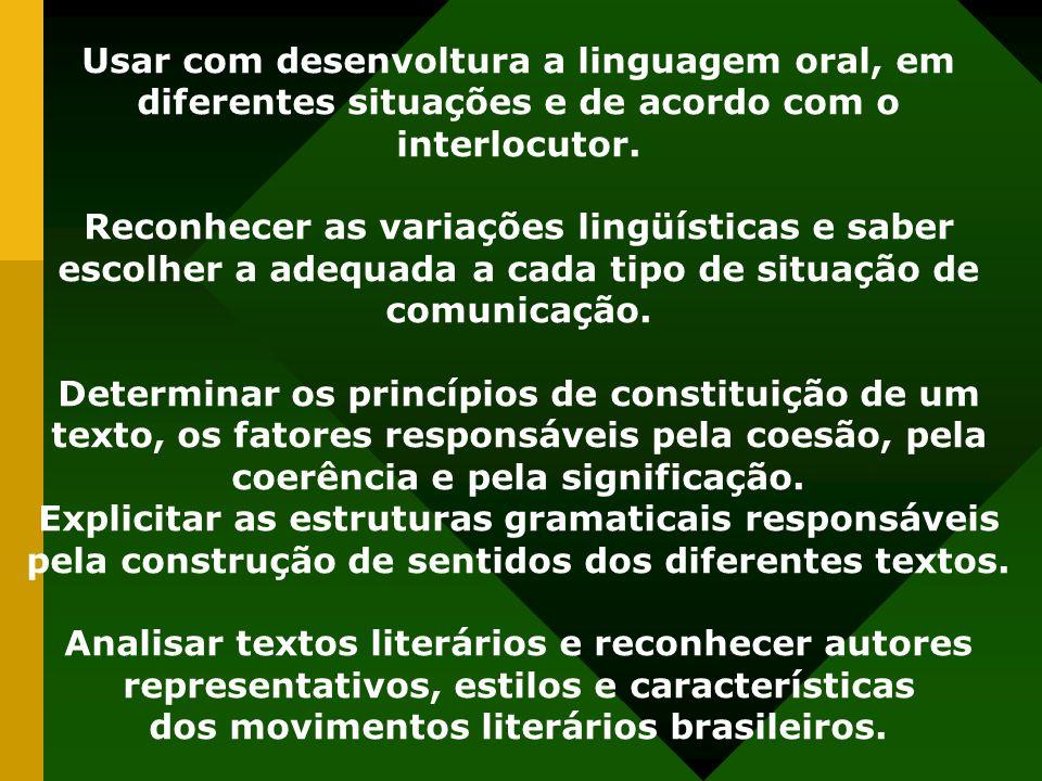 Usar com desenvoltura a linguagem oral, em diferentes situações e de acordo com o interlocutor. Reconhecer as variações lingüísticas e saber escolher
