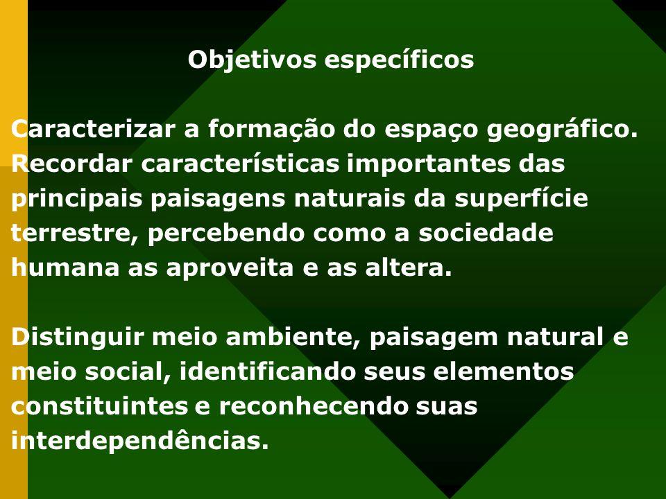 Objetivos específicos Caracterizar a formação do espaço geográfico. Recordar características importantes das principais paisagens naturais da superfíc