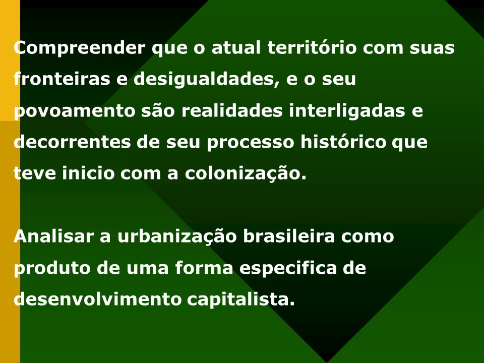Compreender que o atual território com suas fronteiras e desigualdades, e o seu povoamento são realidades interligadas e decorrentes de seu processo h