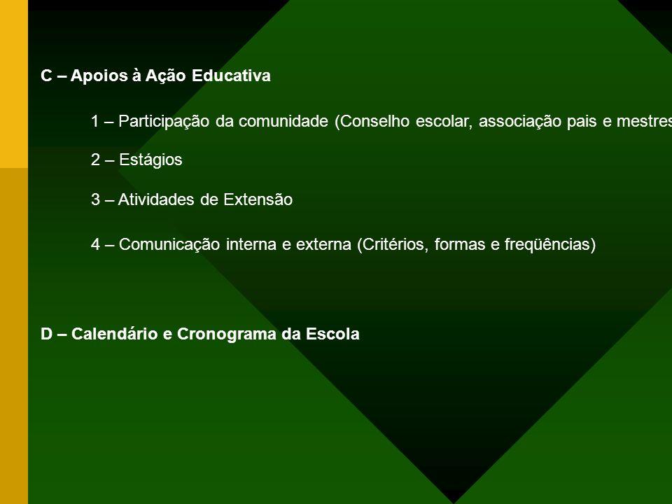 C – Apoios à Ação Educativa 1 – Participação da comunidade (Conselho escolar, associação pais e mestres) 2 – Estágios 3 – Atividades de Extensão 4 – C