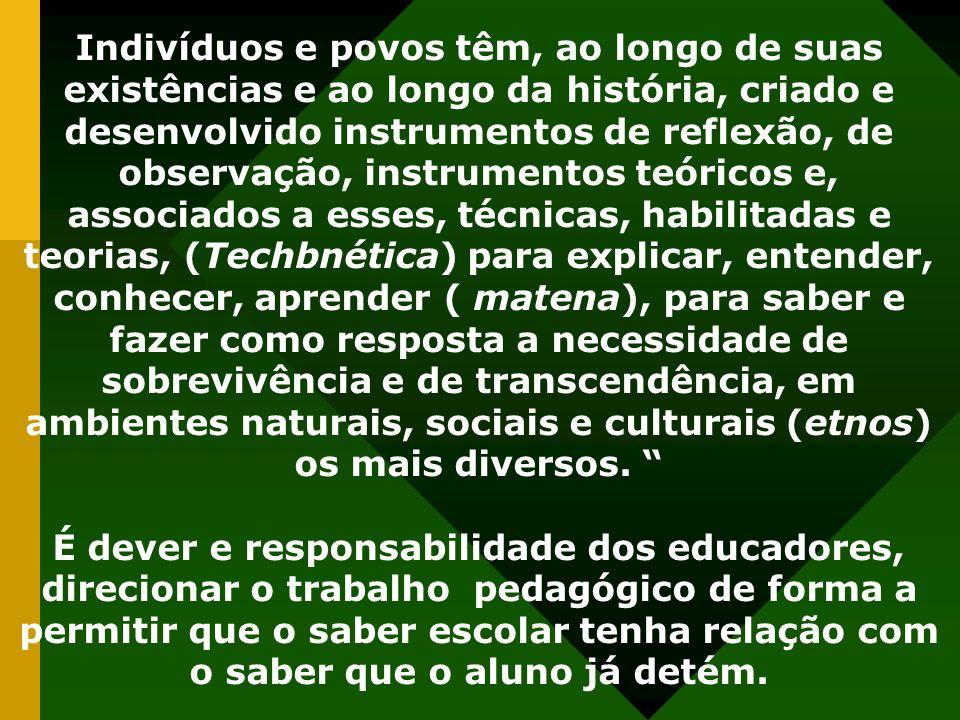 Indivíduos e povos têm, ao longo de suas existências e ao longo da história, criado e desenvolvido instrumentos de reflexão, de observação, instrument