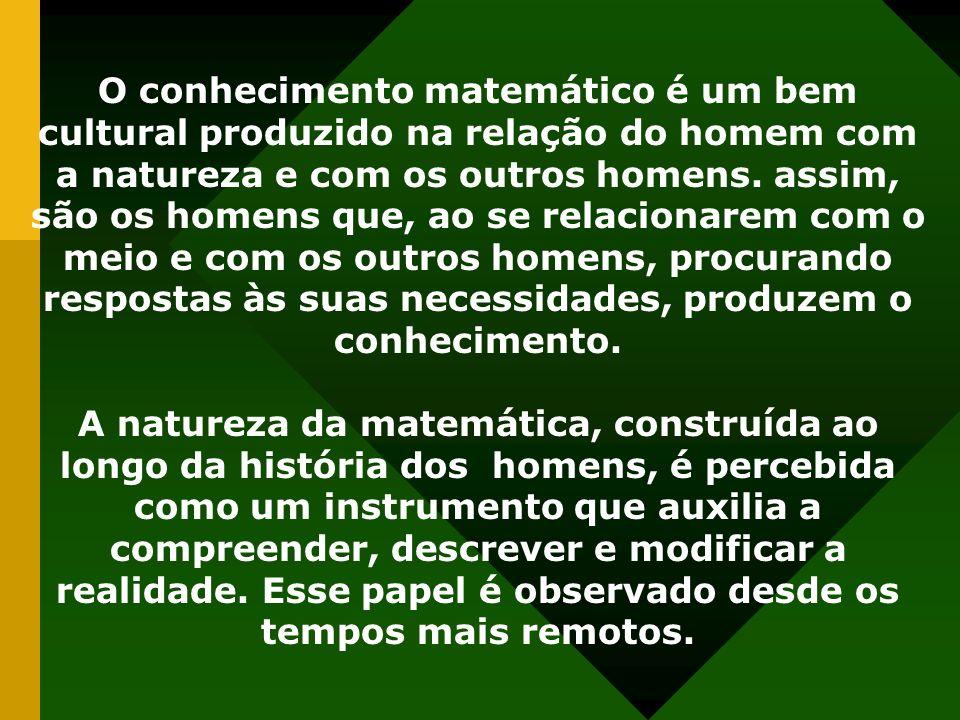 O conhecimento matemático é um bem cultural produzido na relação do homem com a natureza e com os outros homens.