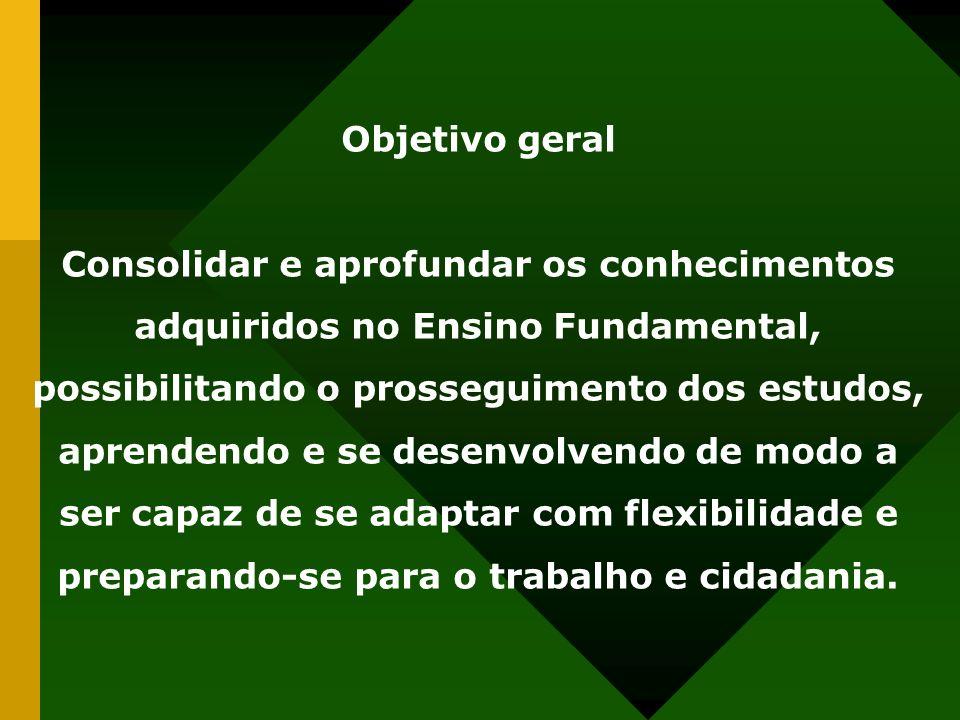 Objetivo geral Consolidar e aprofundar os conhecimentos adquiridos no Ensino Fundamental, possibilitando o prosseguimento dos estudos, aprendendo e se
