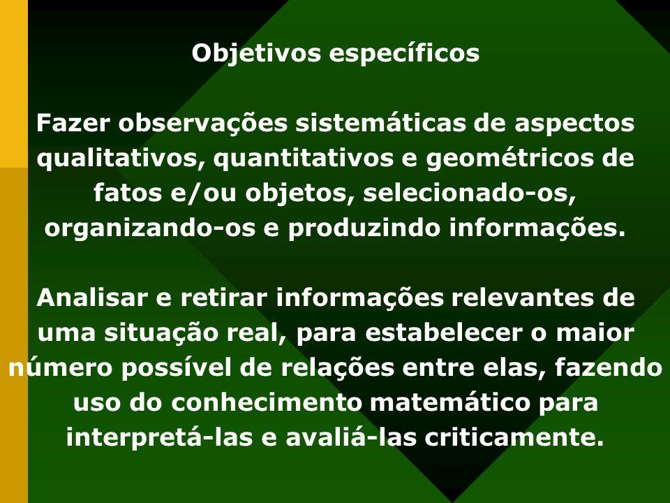 Objetivos específicos Fazer observações sistemáticas de aspectos qualitativos, quantitativos e geométricos de fatos e/ou objetos, selecionado-os, organizando-os e produzindo informações.