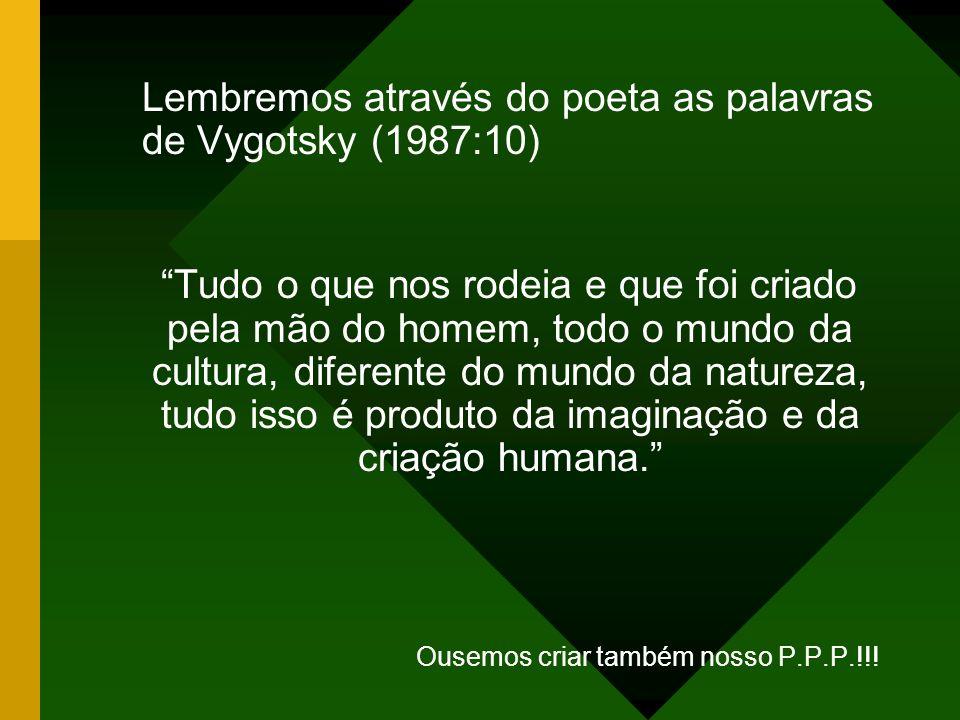 Lembremos através do poeta as palavras de Vygotsky (1987:10) Tudo o que nos rodeia e que foi criado pela mão do homem, todo o mundo da cultura, difere