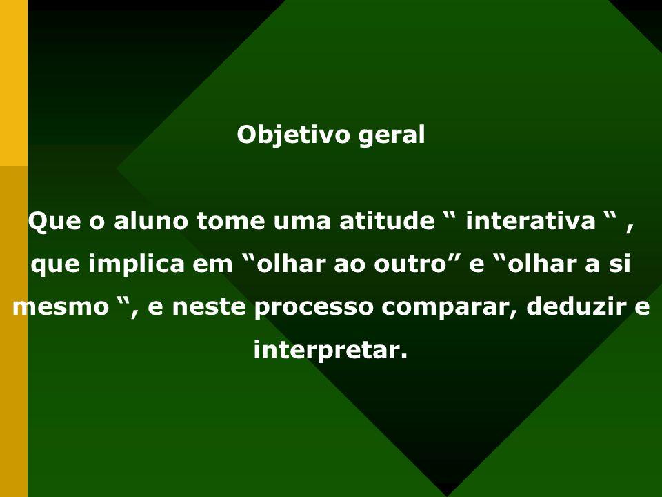 Objetivo geral Que o aluno tome uma atitude interativa, que implica em olhar ao outro e olhar a si mesmo, e neste processo comparar, deduzir e interpretar.