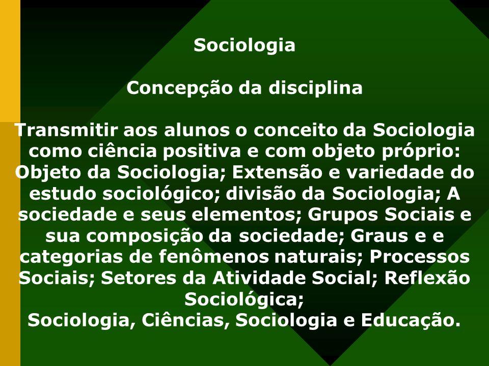 Sociologia Concepção da disciplina Transmitir aos alunos o conceito da Sociologia como ciência positiva e com objeto próprio: Objeto da Sociologia; Ex