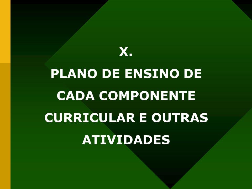 X. PLANO DE ENSINO DE CADA COMPONENTE CURRICULAR E OUTRAS ATIVIDADES