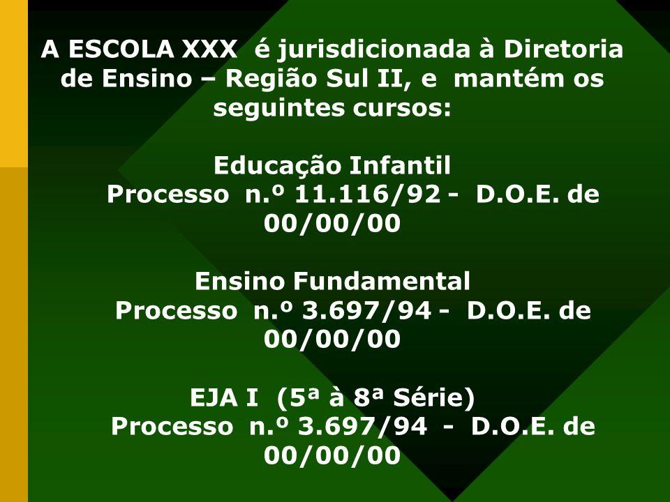 A ESCOLA XXX é jurisdicionada à Diretoria de Ensino – Região Sul II, e mantém os seguintes cursos: Educação Infantil Processo n.º 11.116/92 - D.O.E.