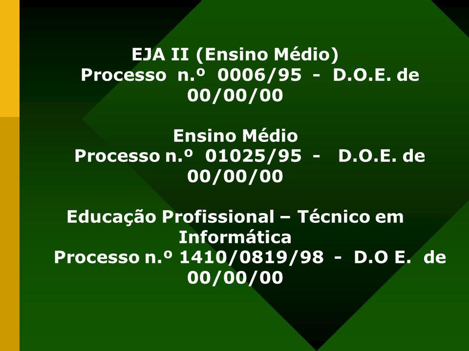 EJA II (Ensino Médio) Processo n.º 0006/95 - D.O.E. de 00/00/00 Ensino Médio Processo n.º 01025/95 - D.O.E. de 00/00/00 Educação Profissional – Técnic