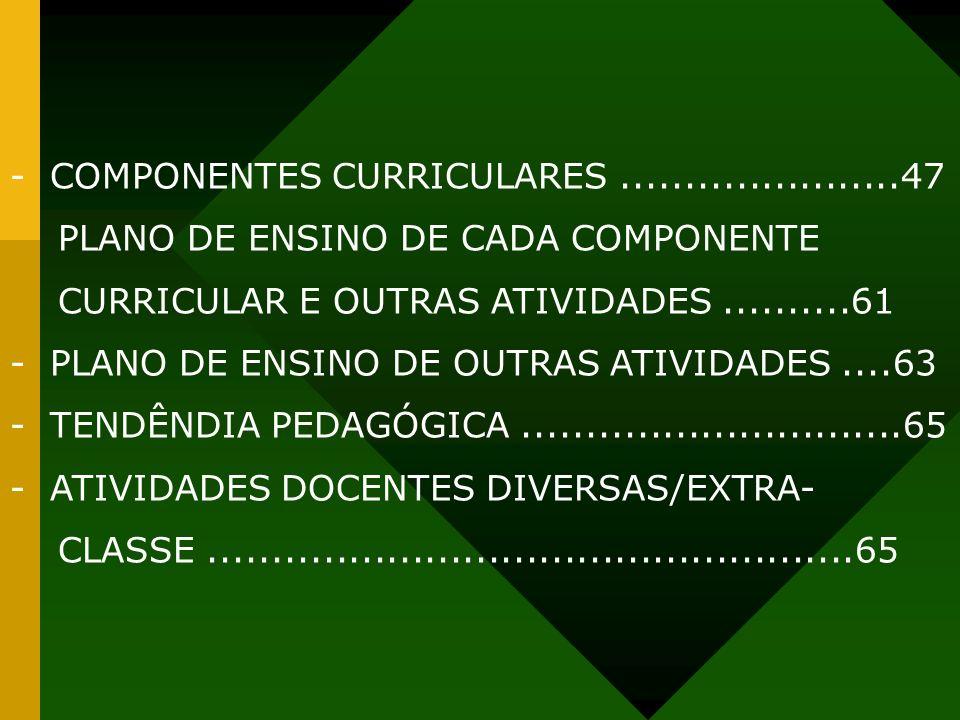 - COMPONENTES CURRICULARES......................47 PLANO DE ENSINO DE CADA COMPONENTE CURRICULAR E OUTRAS ATIVIDADES..........61 - PLANO DE ENSINO DE