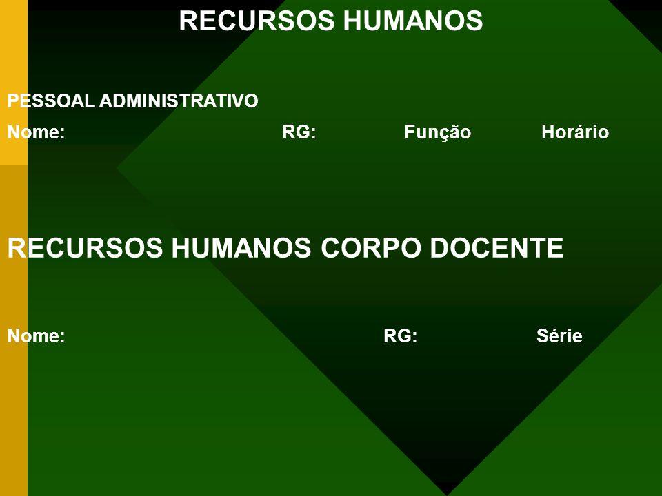 RECURSOS HUMANOS PESSOAL ADMINISTRATIVO Nome: RG:Função Horário RECURSOS HUMANOS CORPO DOCENTE Nome: RG:Série