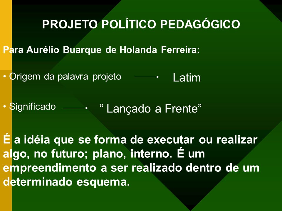 PROJETO POLÍTICO PEDAGÓGICO Para Aurélio Buarque de Holanda Ferreira: Origem da palavra projeto Significado É a idéia que se forma de executar ou realizar algo, no futuro; plano, interno.