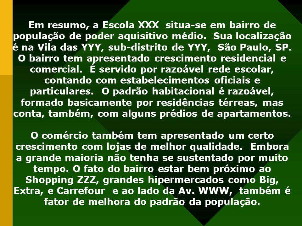 Em resumo, a Escola XXX situa-se em bairro de população de poder aquisitivo médio. Sua localização é na Vila das YYY, sub-distrito de YYY, São Paulo,
