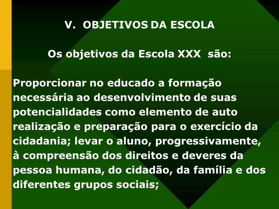 V. OBJETIVOS DA ESCOLA Os objetivos da Escola XXX são: Proporcionar no educado a formação necessária ao desenvolvimento de suas potencialidades como e