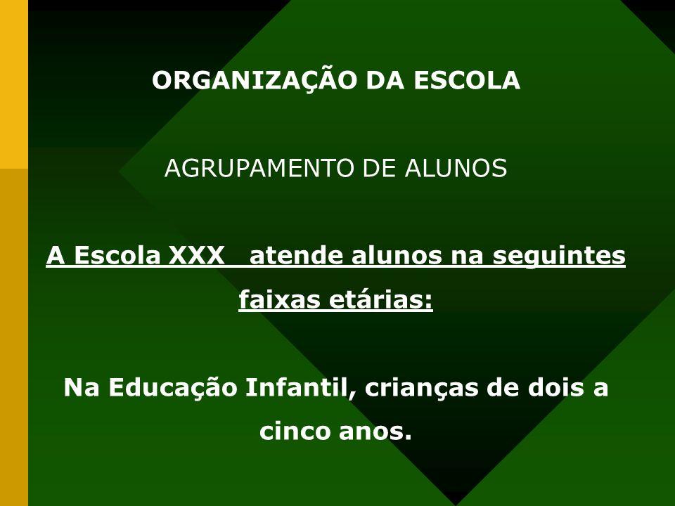ORGANIZAÇÃO DA ESCOLA AGRUPAMENTO DE ALUNOS A Escola XXX atende alunos na seguintes faixas etárias: Na Educação Infantil, crianças de dois a cinco anos.