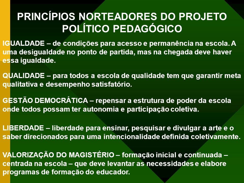 PRINCÍPIOS NORTEADORES DO PROJETO POLÍTICO PEDAGÓGICO IGUALDADE – de condições para acesso e permanência na escola. A uma desigualdade no ponto de par