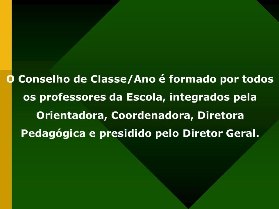 O Conselho de Classe/Ano é formado por todos os professores da Escola, integrados pela Orientadora, Coordenadora, Diretora Pedagógica e presidido pelo