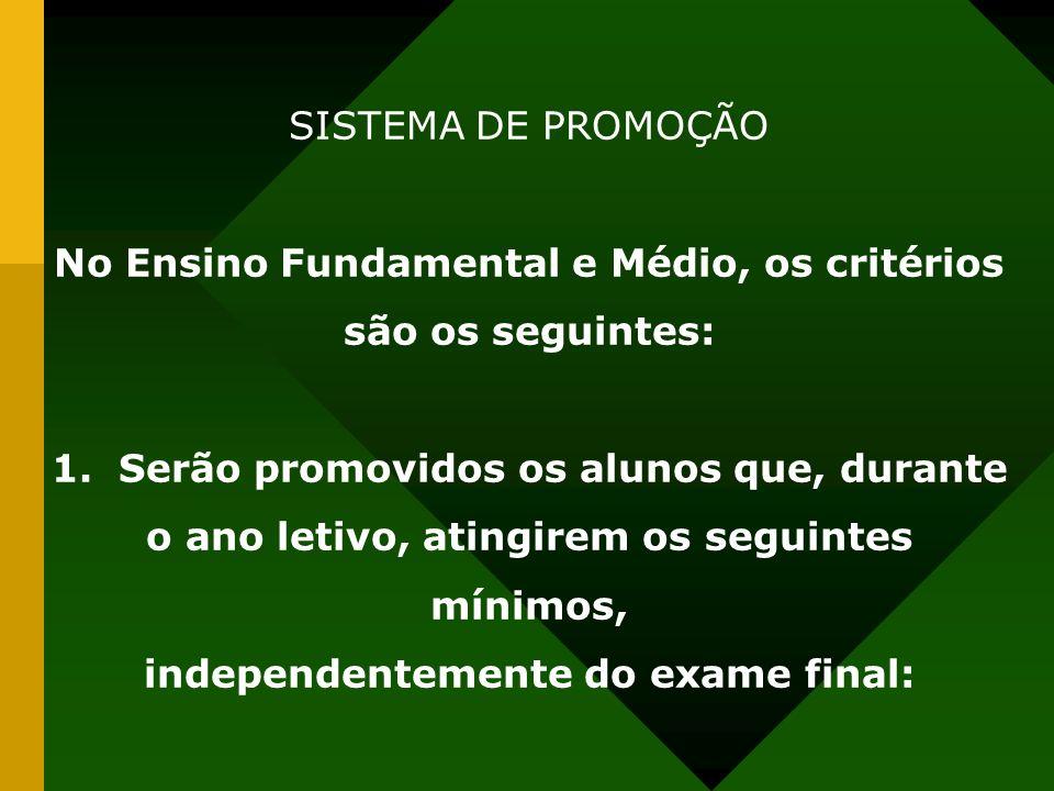 SISTEMA DE PROMOÇÃO No Ensino Fundamental e Médio, os critérios são os seguintes: 1. Serão promovidos os alunos que, durante o ano letivo, atingirem o