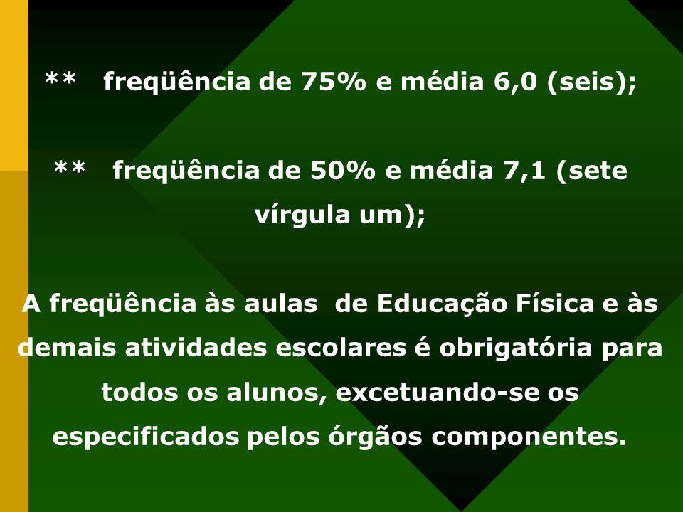 ** freqüência de 75% e média 6,0 (seis); ** freqüência de 50% e média 7,1 (sete vírgula um); A freqüência às aulas de Educação Física e às demais ativ