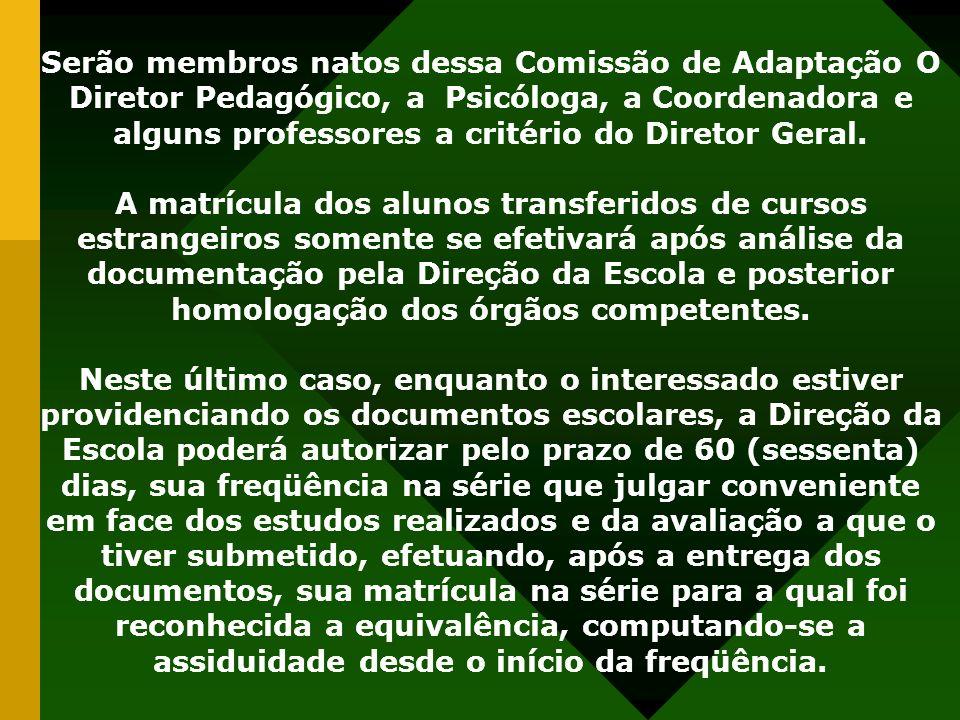 Serão membros natos dessa Comissão de Adaptação O Diretor Pedagógico, a Psicóloga, a Coordenadora e alguns professores a critério do Diretor Geral. A