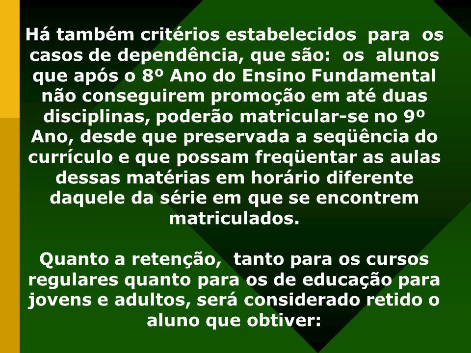 Há também critérios estabelecidos para os casos de dependência, que são: os alunos que após o 8º Ano do Ensino Fundamental não conseguirem promoção em