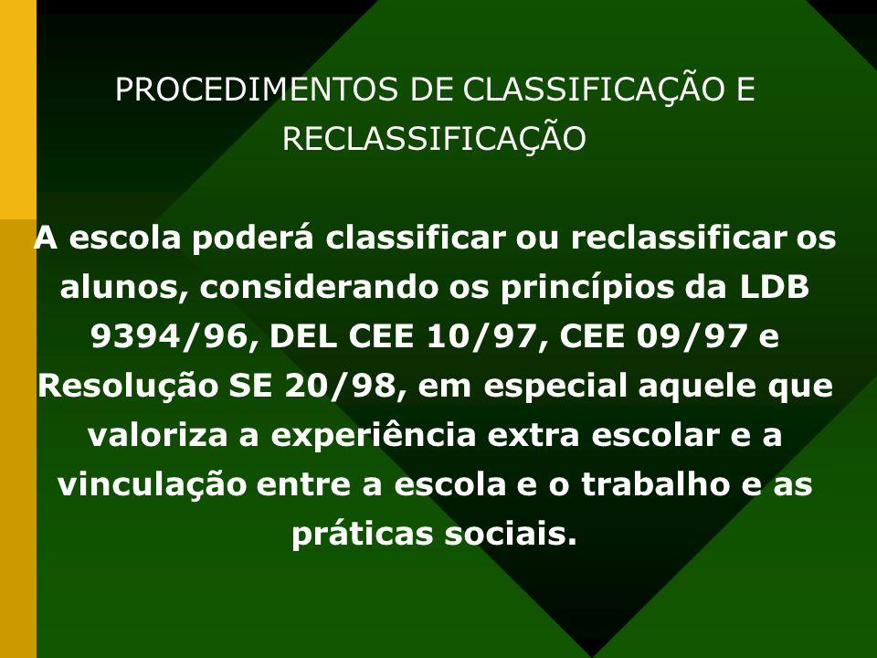 PROCEDIMENTOS DE CLASSIFICAÇÃO E RECLASSIFICAÇÃO A escola poderá classificar ou reclassificar os alunos, considerando os princípios da LDB 9394/96, DE