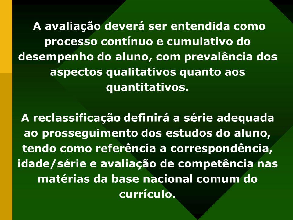 A avaliação deverá ser entendida como processo contínuo e cumulativo do desempenho do aluno, com prevalência dos aspectos qualitativos quanto aos quan