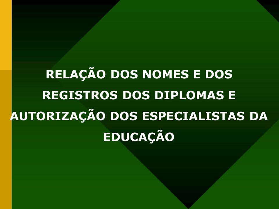 RELAÇÃO DOS NOMES E DOS REGISTROS DOS DIPLOMAS E AUTORIZAÇÃO DOS ESPECIALISTAS DA EDUCAÇÃO