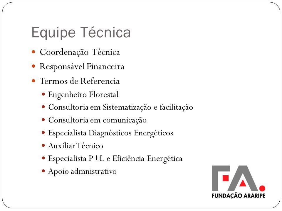 Equipe Técnica Coordenação Técnica Responsável Financeira Termos de Referencia Engenheiro Florestal Consultoria em Sistematização e facilitação Consul