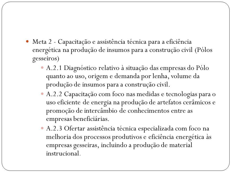Meta 2 - Capacitação e assistência técnica para a eficiência energética na produção de insumos para a construção civil (Pólos gesseiros) A.2.1 Diagnós