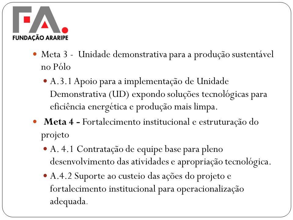 Meta 3 - Unidade demonstrativa para a produção sustentável no Pólo A.3.1 Apoio para a implementação de Unidade Demonstrativa (UD) expondo soluções tec