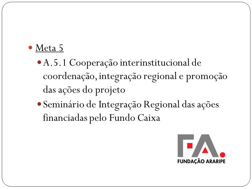 Meta 5 A.5.1 Cooperação interinstitucional de coordenação, integração regional e promoção das ações do projeto Seminário de Integração Regional das aç