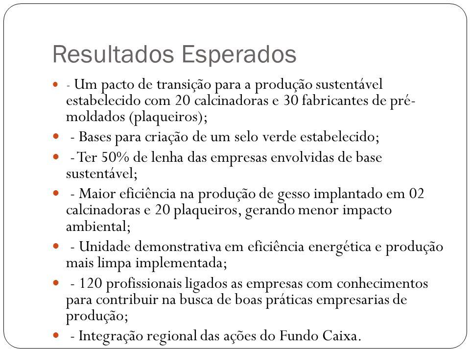 Resultados Esperados - Um pacto de transição para a produção sustentável estabelecido com 20 calcinadoras e 30 fabricantes de pré- moldados (plaqueiro