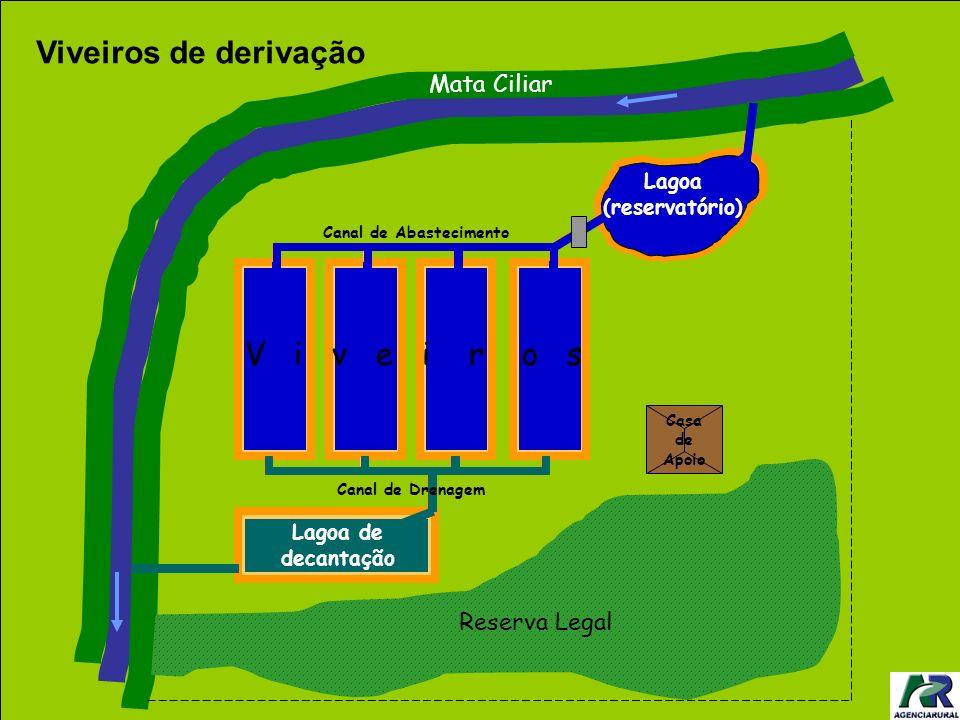Canal de Abastecimento Casa de Apoio Reserva Legal Mata Ciliar V i v e i r o s Canal de Drenagem Lagoa (reservatório) Lagoa de decantação Viveiros de