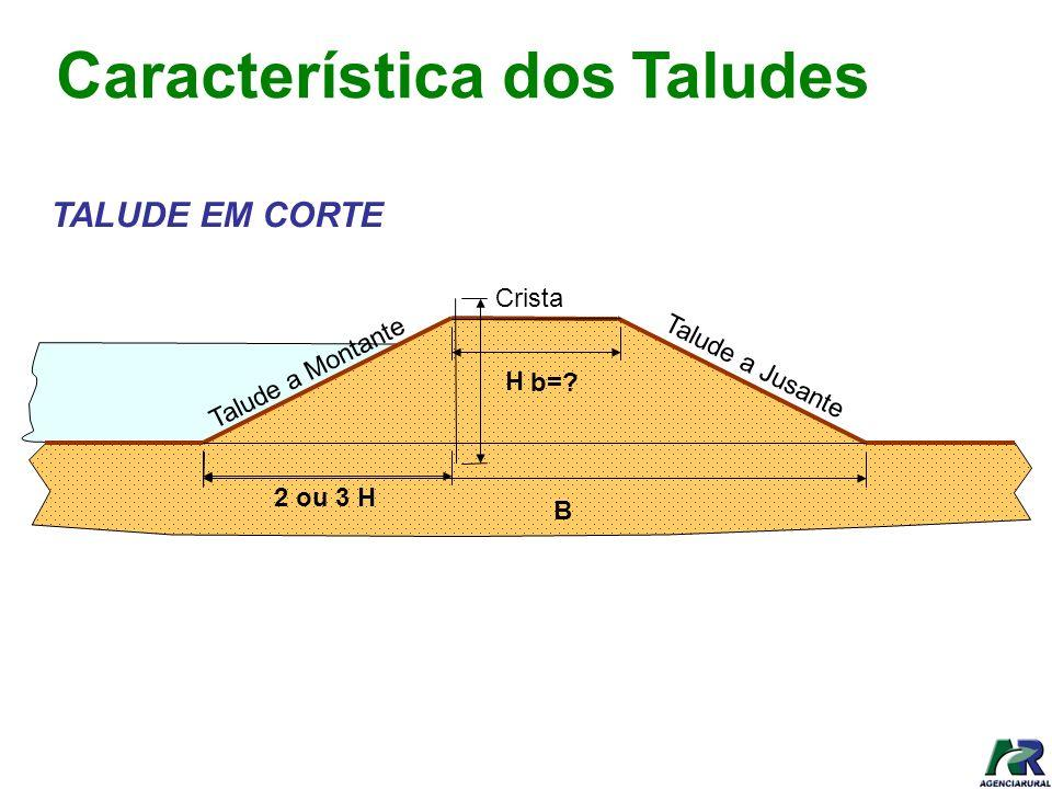 2 ou 3 H H Talude a Jusante Crista Talude a Montante b=? B Característica dos Taludes TALUDE EM CORTE