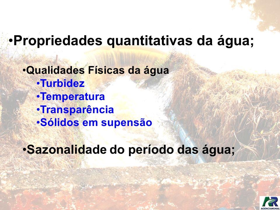 Propriedades quantitativas da água; Qualidades Físicas da água Turbidez Temperatura Transparência Sólidos em supensão Sazonalidade do período das água