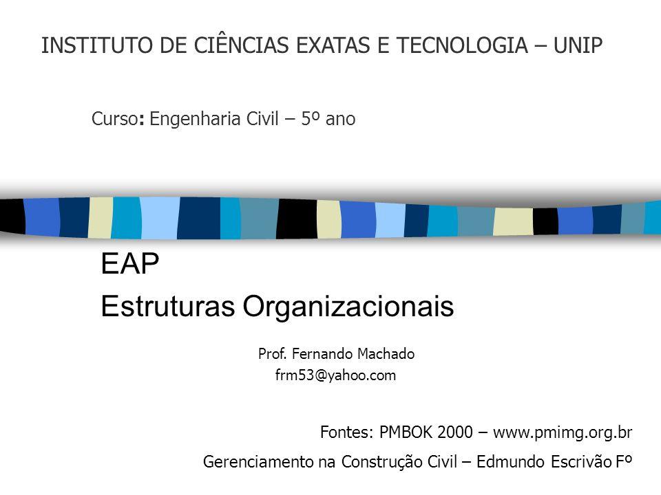 Curso: Engenharia Civil – 5º ano EAP Estruturas Organizacionais Prof. Fernando Machado frm53@yahoo.com Fontes: PMBOK 2000 – www.pmimg.org.br Gerenciam