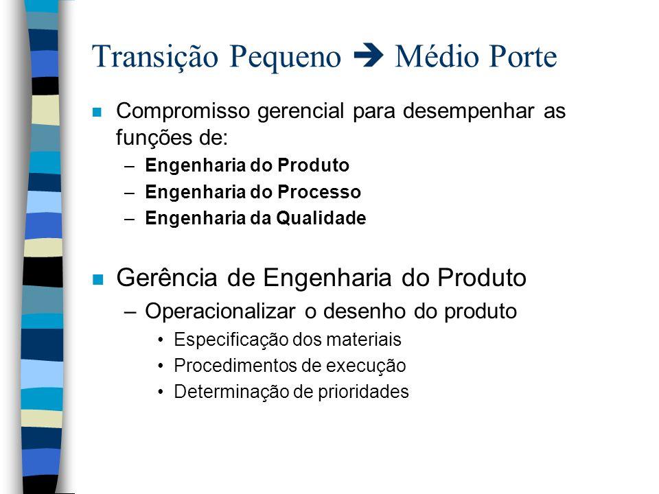 Transição Pequeno Médio Porte n Compromisso gerencial para desempenhar as funções de: –Engenharia do Produto –Engenharia do Processo –Engenharia da Qu