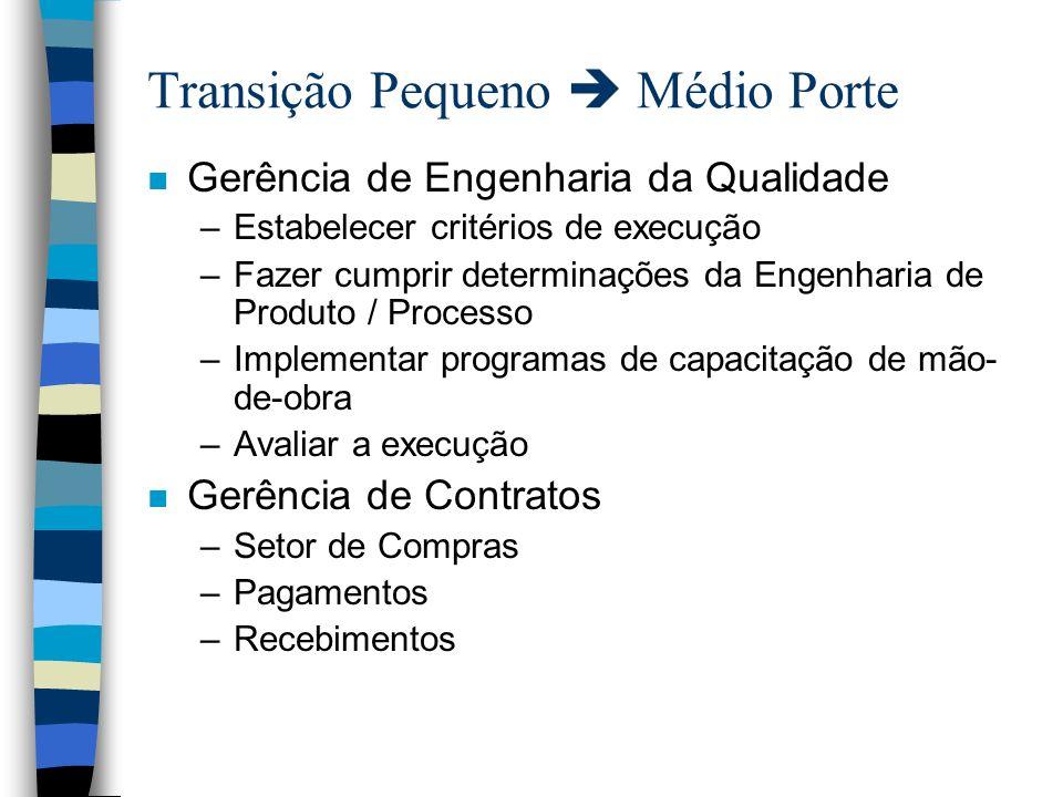 Transição Pequeno Médio Porte n Gerência de Engenharia da Qualidade –Estabelecer critérios de execução –Fazer cumprir determinações da Engenharia de P